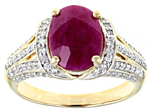 Red Burmese Ruby 14k Yellow Gold Ring 3.15ctw
