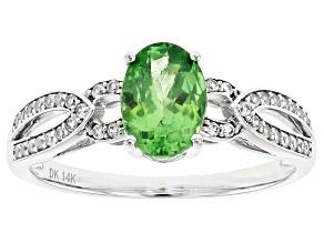 Green Tsavorite Rhodium Over 14k White Gold Ring 1.44ctw
