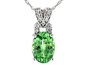 Green Tsavorite Rhodium Over 14k White Gold Pendant With Chain 1.33ctw