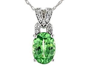 Green Tsavorite Rhodium Over 14k White Gold Pendant With Chain 1.33ctw