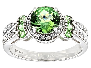 Green Tsavorite Rhodium Over 14k White Gold Ring 2.15ctw