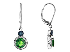 Green Tsavorite Rhodium Over 14k White Gold Earrings 2.14ctw
