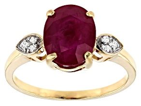 Red Burmese Ruby 14k Yellow Gold Ring 2.86ctw