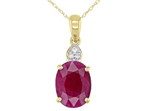 Red Burmese Ruby 14k Yellow Gold Pendant With Chain 2.83ctw