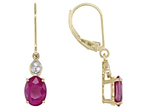 Red Burmese Ruby 14k Yellow Gold Earrings 2.60ctw