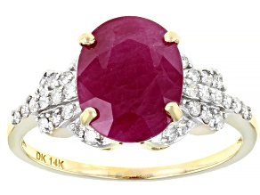 Red Burmese Ruby 14k Yellow Gold Ring 3.05ctw