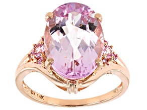 Pink Kunzite 14k Rose Gold Ring 6.57ctw