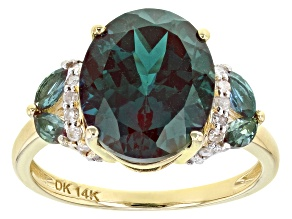 Teal Lab Created Alexandrite 14k Yellow Gold Ring 4.93ctw