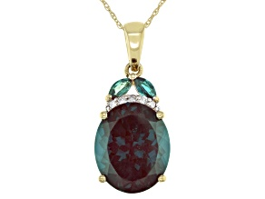 Teal Lab Created Alexandrite 14k Yellow Gold Pendant With Chain 4.66ctw