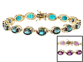 Teal Lab Created Alexandrite 14k Yellow Gold Bracelet 19.13ctw