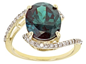 Color Change Lab Created Alexandrite 14k Yellow Gold Ring 4.68ctw
