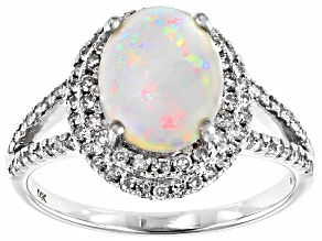 Multi-Color Australian Opal Rhodium Over 14k White Gold Ring 1.90ctw