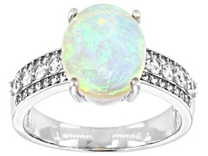 Multi Color Australian Opal Rhodium Over 14k White Gold Ring 2.28ctw