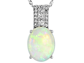 Multi Color Australian Opal Rhodium Over 14k White Gold Pendant with Chain 2.03ctw