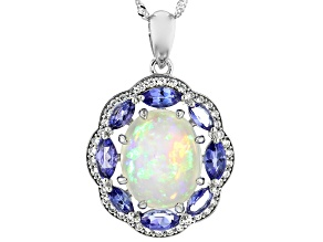 Multi Color Australian Opal Rhodium Over 14K White Gold Pendant With Chain 3.02ctw