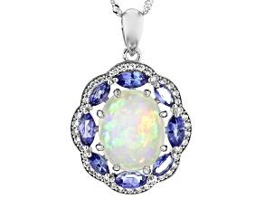 Multi Color Australian Opal Rhodium Over 14K White Gold Pendant With Chain 3.02ctw