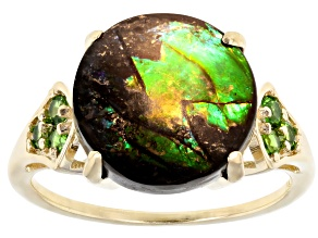 Brown Ammolite 14k Yellow Gold Ring 0.17ctw