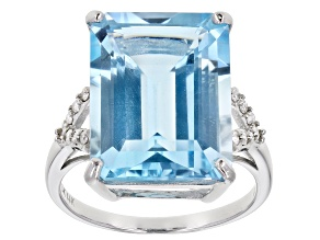 Blue Glacier Topaz™ Rhodium Over 14k White Gold Ring 11.84ctw