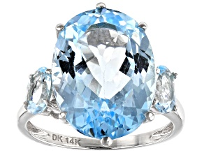 Sky Blue Topaz Rhodium Over 14k White Gold Ring 11.35ctw