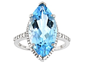Blue Glacier Topaz™ Rhodium Over 14k White Gold Ring 7.13ctw