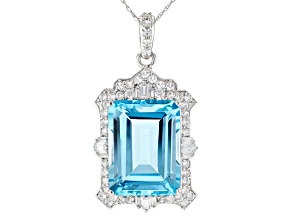 Sky Blue Topaz Rhodium Over 14k White Gold Pendant With Chain 13.99tw