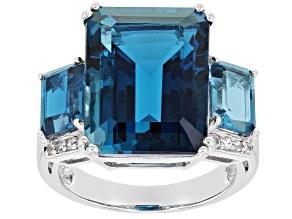 London Blue Topaz Rhodium Over 14k White Gold Ring 15.16ctw