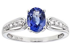 Blue Ceylon Sapphire Rhodium Over 14k White Gold Ring 1.55ctw