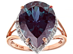 Color Change Lab Created Alexandrite 14k Rose Gold Ring 8.69ctw