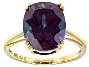 Color Change Lab Created Alexandrite 14k Yellow Gold Ring  5.27ct