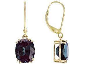 Color Change Lab Created Alexandrite 14k Yellow Gold Earrings 5.92ctw