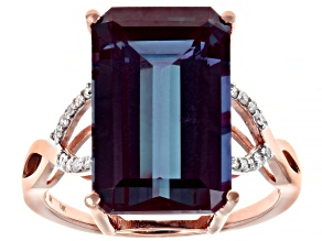 Color Change Lab Created Alexandrite 14k Rose Gold Ring 8.16ctw