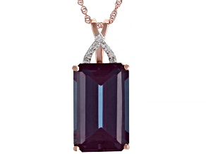 Color Change Lab Created Alexandrite 14k Rose Gold Pendant With Chain 10.01ctw
