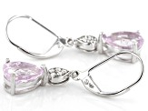 Pink Kunzite Rhodium Over 14k White Gold Earrings 3.28ctw
