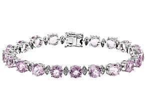 Pink Kunzite Rhodium Over 14k White Gold Bracelet 19.13ctw