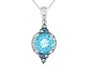 Blue Apatite Rhodium Over 14k White Gold Pendant with Chain 1.79ctw