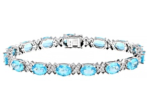 Blue Apatite Rhodium Over 14k White Gold Bracelet 14.76ctw