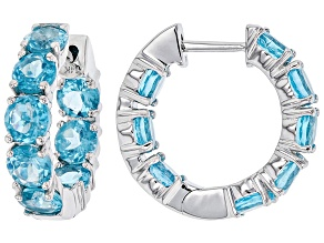 Blue Apatite Rhodium Over 14k White Gold Hoop Earrings 5.70ctw