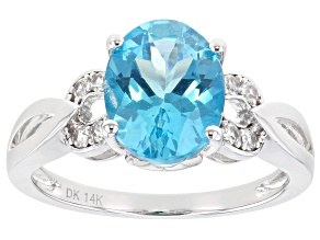 Blue Apatite Rhodium Over 14k White Gold 2.71ctw