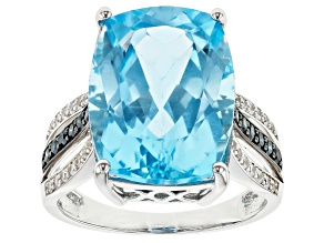 Sky Blue Topaz Rhodium Over 14k White Gold Ring 12.69ctw