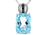 Sky Blue Topaz Rhodium Over 14k White Gold Pendant With Chain 12.54ctw