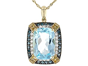 Blue Topaz 14k Yellow Gold Pendant With Chain 7.60ctw