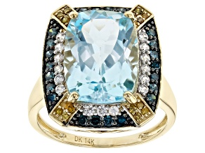 Sky Blue Topaz 14k Yellow Gold Ring 7.61ctw