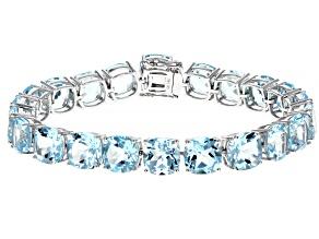 Sky Blue Topaz Rhodium Over 14k White Gold Bracelet 56.10ctw