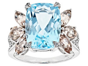 Sky Blue Topaz Rhodium Over 14k White Gold Ring 8.23ctw
