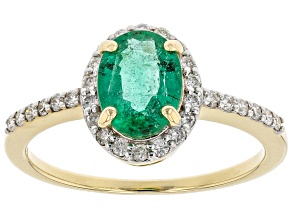 Green Zambian Emerald 14k Yellow Gold Ring 1.39ctw