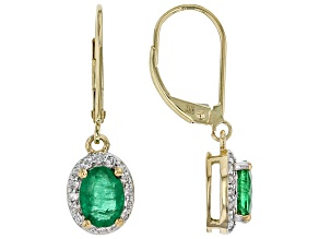 Green Zambian Emerald 14k Yellow Gold Earrings 1.60ctw