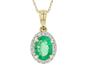 Green Zambian Emerald 14k Yellow Gold Pendant With Chain 1.40ctw