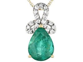 Green Zambian Emerald 14k Yellow Gold Slide With Chain .93ctw