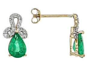 Green Zambian Emerald 14k Yellow Gold Earrings 1.35ctw