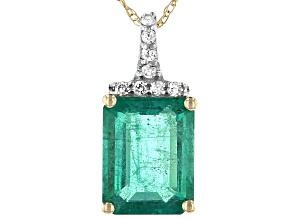 Green Zambian Emerald 14k Yellow Gold Pendant With Chain 2.23ctw